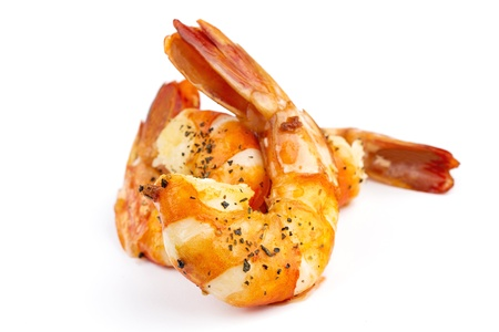 tiger shrimp: cooked unshelled tiger shrimps isolated on white