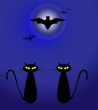 Moonlight lanterns: Halloween illustration with black cats on moon background
