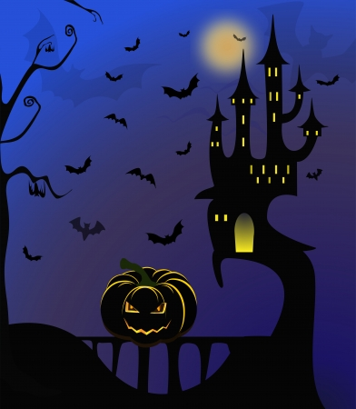 Halloween design - Forest pumpkins  Horror background with autumn valley with woods Vector