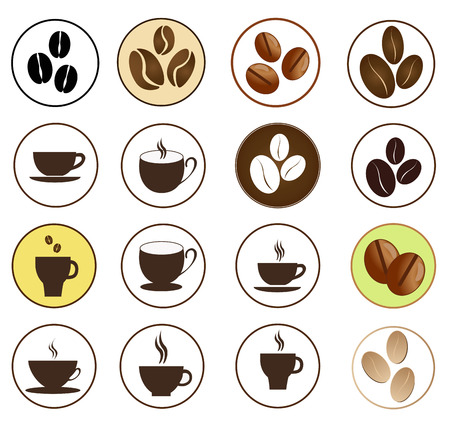 Vector brown coffee icons set  Cup and cafe icon Vector