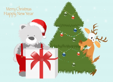 Red baby winter background with Funny young Teddy bear   Vector