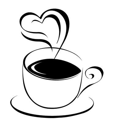 コーヒー カップ輪郭ベクトル イラスト