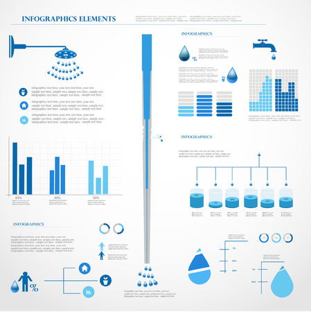water tank: Water infographics  Information Graphics  Vector illustration