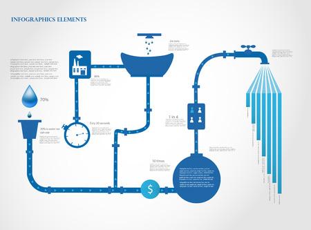 agua: Infografía de agua ilustración vectorial gráficos de la Información Vectores