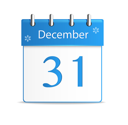 Vector calendar app icon  31 December Illustration