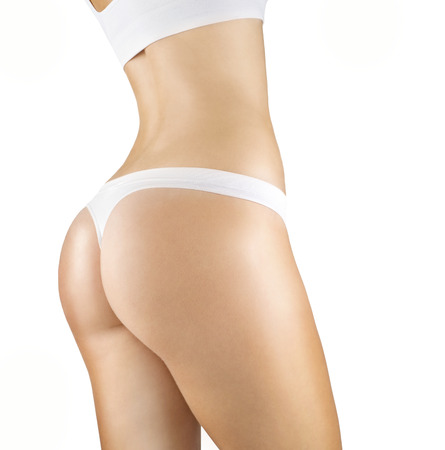 naked female body: Side view of the naked female body in panties