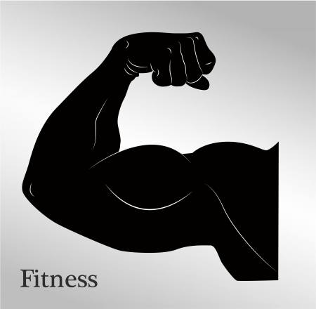 muscle arm: Cartoon biceps  man s arm muscles  Illustration