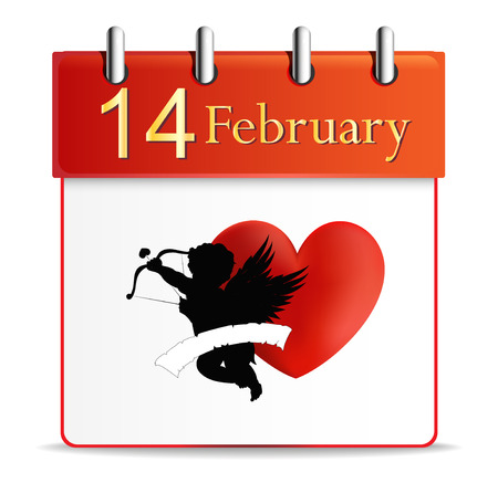 valentines day calendar date february illustration Vector