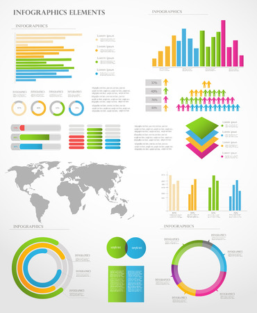 Set of Infographic Elements  World Map and Information Graphics