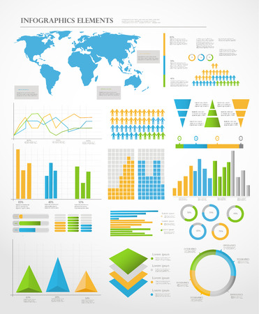 Set of Infographic Elements  World Map and Information Graphics Vector