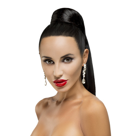 High Fashion Model Girl Portrait with Trendy Fringe Hair style and Makeup  Long Black Fringe Hairstyle, Black Hair and Red Matte Lipstick   photo