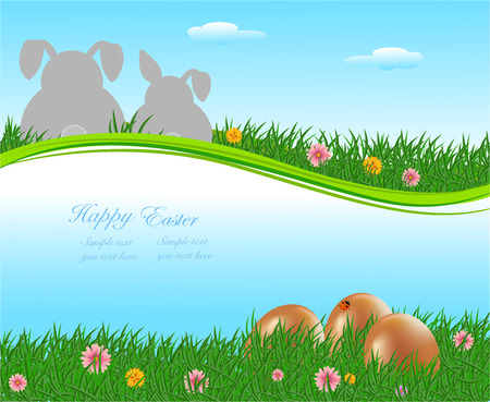The Easter bunny with Easter eggs with more Easter eggs around him Vector