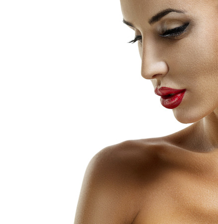 Sexy Beauty Girl with Red Lips  Provocative Make up   photo