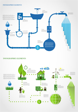 green energy  ecology info graphics collection - ENERGY industry - charts, symbols, graphic elements Vector