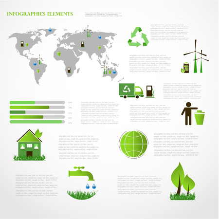 Ecology info graphics collection, charts, symbols, graphic vector  Vector