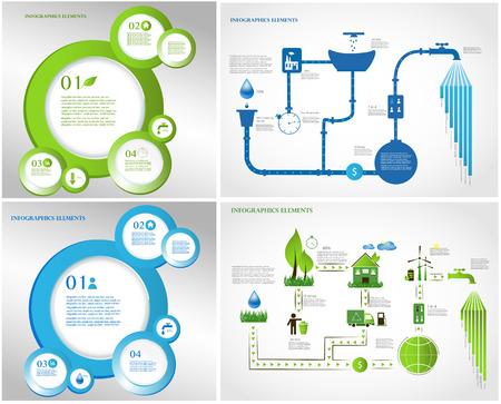 collection d'informations sur l'écologie de l'énergie verte graphique - secteur de l'énergie - les arbres, les symboles, les éléments graphiques