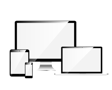 Electronic Devices with White Screens, isolated on white background Vector