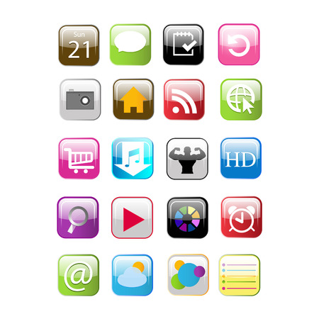 Set of social media buttons for design - vector icons Vector