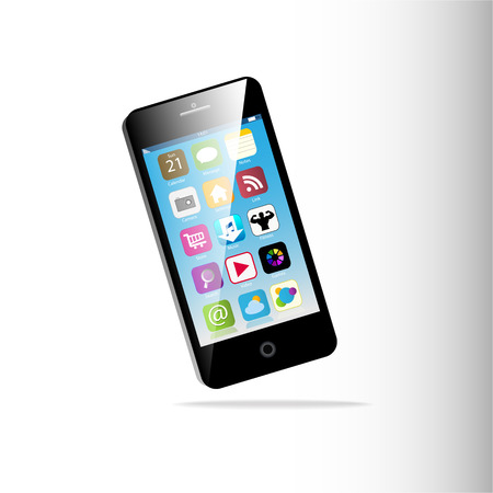 Black Touchscreen smartphone isolated on white background Vector