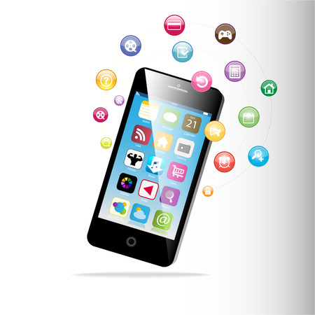 Touchscreen Smart Phone with Cloud of Media Application Icons   Vector