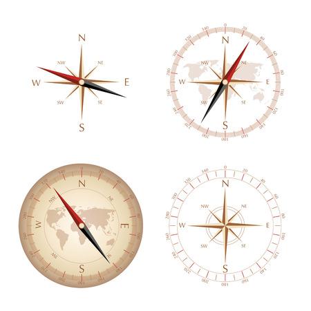 4 vintage compasses Stock Illustratie