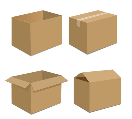 brown box: Collection recycle brown box packaging  vector illustration