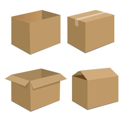 brown box: Collezione riciclare scatola marrone illustrazione vettoriale di imballaggio Vettoriali