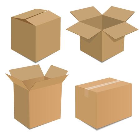 コレクション リサイクル茶色のボックス包装ベクトル図