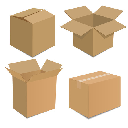 Collection recycle brown box packaging  vector illustration
