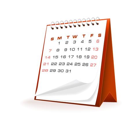 vector illustration of desktop calendar against white