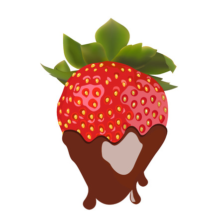 beautiful strawberries in dark chocolate  vector illustration of a realistic Vector