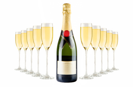 special steel: Champagne bottle and champagne glasses Stock Photo