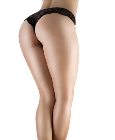 culo donna: Culo sexy in mutandine nere isolato su bianco