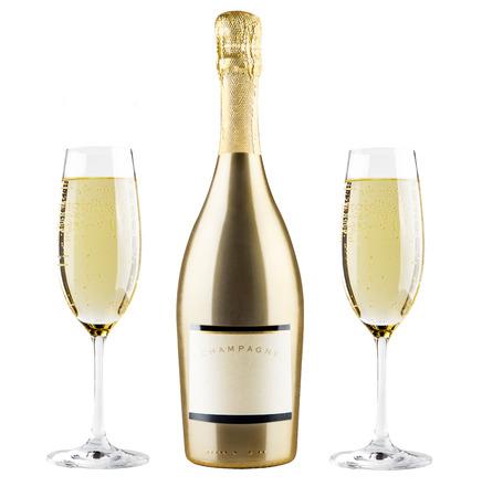 botella champagne: Hermosa imagen de una botella de champán Foto de archivo