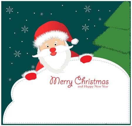 clip art santa claus: Santa Sign: Santa Claus, holding a blank sign.