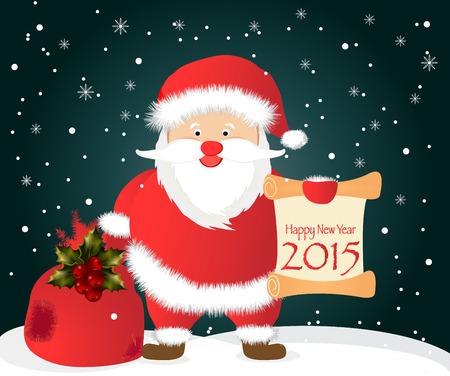 greybeard: Illustrazione vettoriale di Babbo Natale che trasportano il sacco pieno di doni