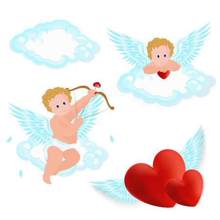 eros: Vector illustration of adorable angel sitting on the cloud