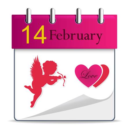 scheduler: Vector calendar with angel - Valentines Day Illustration