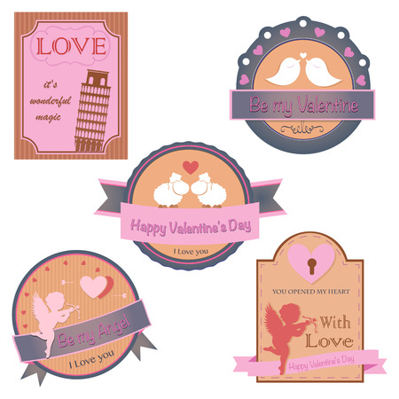 Vector set of valentines day vintage design elements Vector