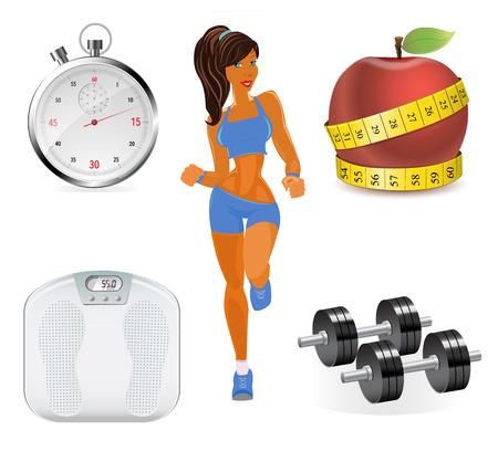 Vektor-Reihe von Flach Fitness Frau. Flache Darstellung der Fitness-Elemente.
