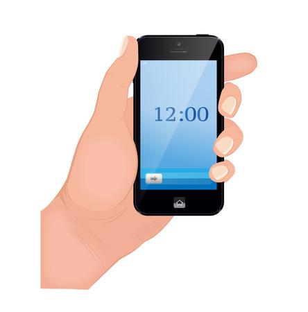 holding smart phone: Hand holding smart phone on white background. Flat design