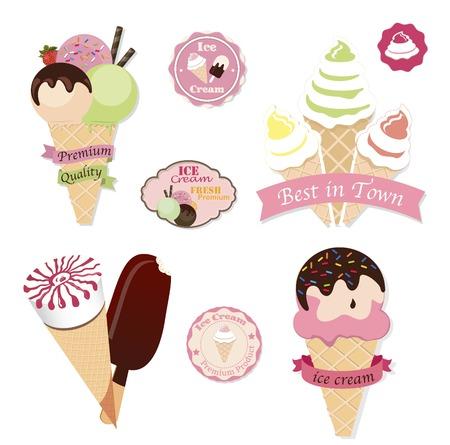 chock: Set of tasty ice cream isolated on white background Illustration