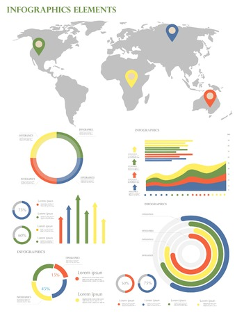 Infographic Elements Collection Business Vector Illustration in flat design style for presentation Vector