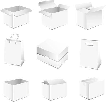white boxes: Set of white boxes Vector illustration on white background