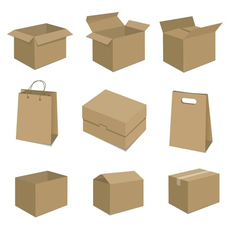 Set of nine isometric cardboard boxes isolated on white.