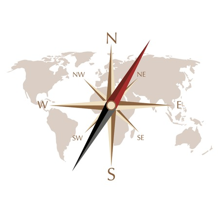 map and compass vector Çizim