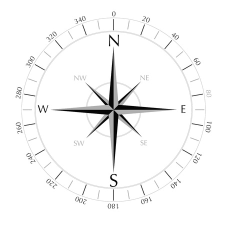 lost world: compass rose isolated on white background vector illustration Illustration