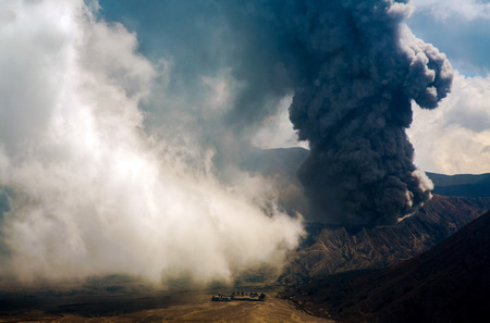 tengger: Bromo volcano is part of the Tengger massif, with mount Semuru, in east Java in Indonesia Stock Photo