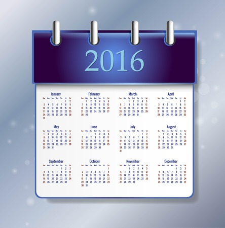 Calendar 2016 year vector design template. EPS10 Illustration