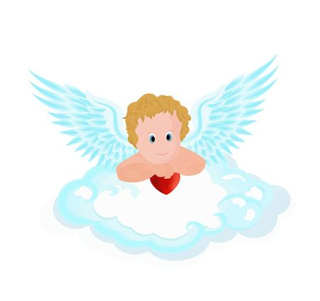 cupid pendant in the clouds with hearts vector illustration